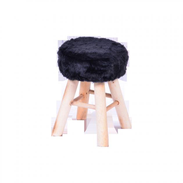 Banquinho pêlo base madeira