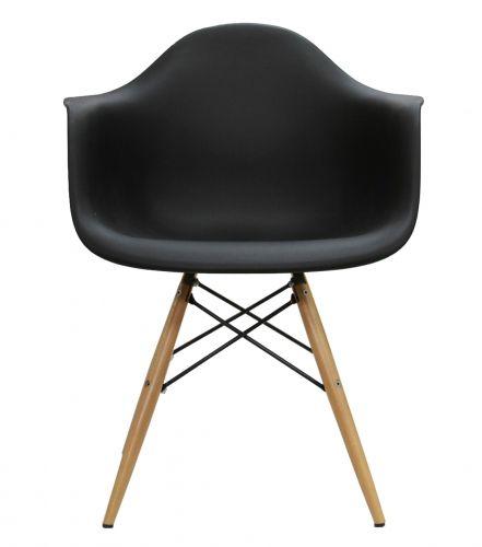 Cadeira em Polipropileno com Braço e Base Madeira
