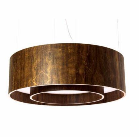 Pendente cilíndrico duplo em madeira 60x25cm
