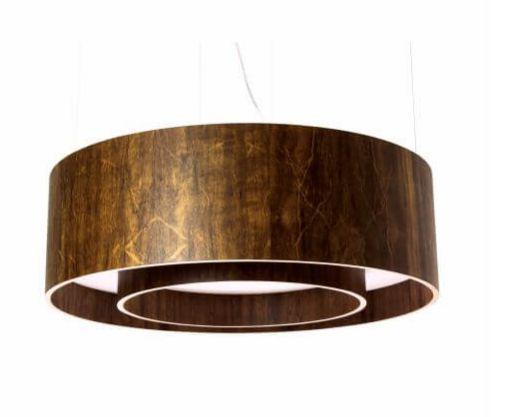 Pendente cilíndrico duplo fechado madeira 80x25cm