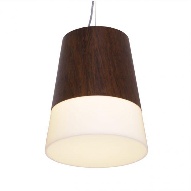 Pendente Conico Madeira 33x27,5x19 - 1 Lâmpada E-27